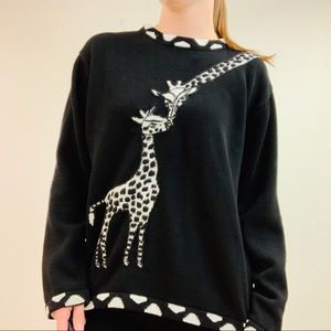 VINTAGE Black Mama/Baby Giraffe Sweater size L